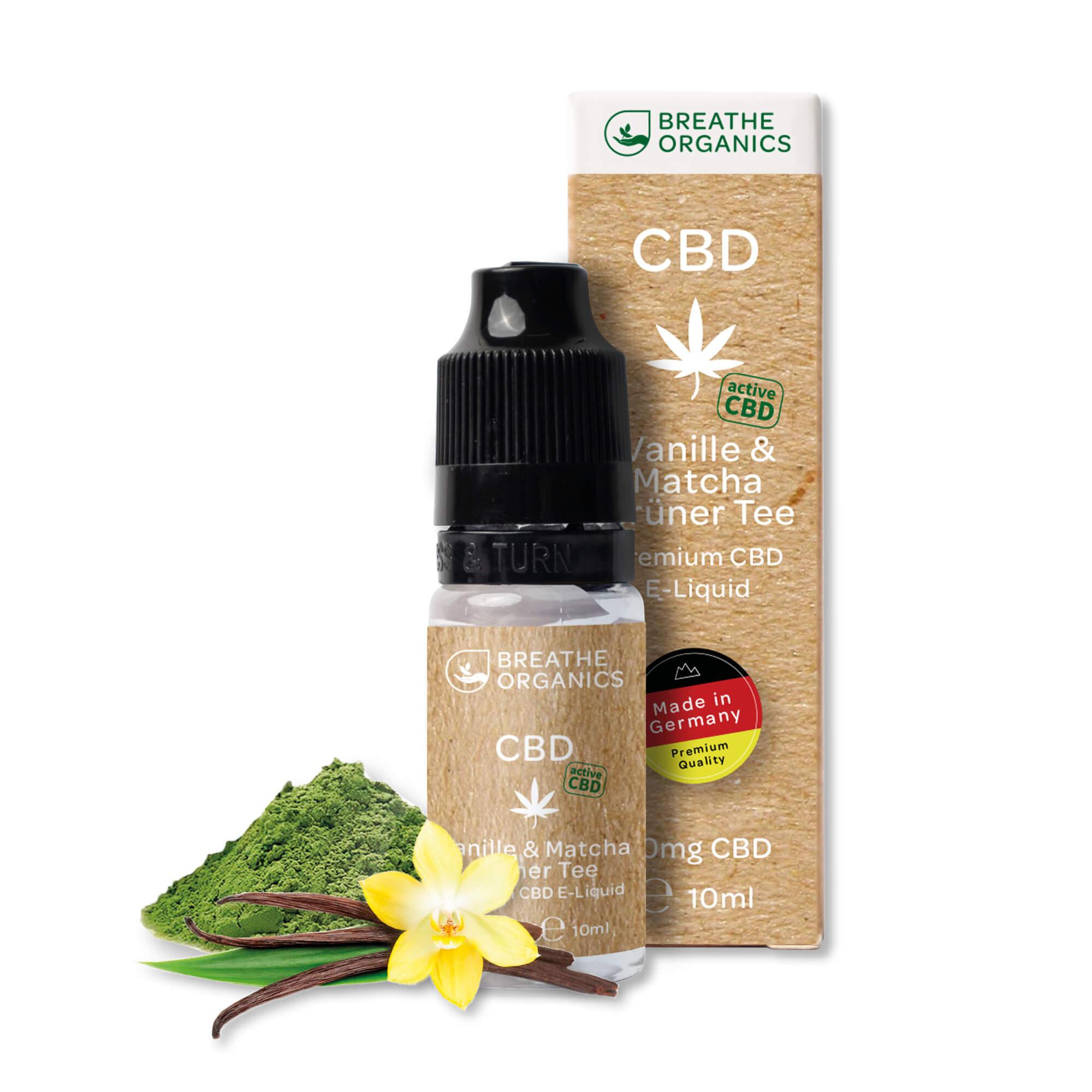 Liquid 300mg Vanille & Matcha Grüner Tee - Breathe Organics